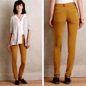 PILCRO HIGH RISE SKINNY CORD ANKLE JEANS GOLD